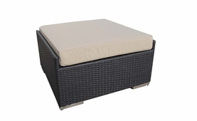 Ohana Outdoor Patio Wicker Furniture Large Ottoman - Set of Two