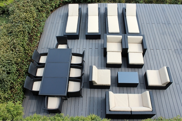 Ohana 22 Piece Outdoor Patio Wicker Furniture Sectional Set