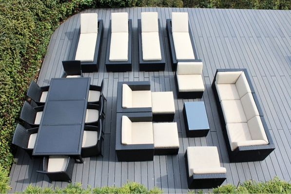 Ohana 23 Piece Outdoor Patio Wicker Furniture Sectional Seating Group