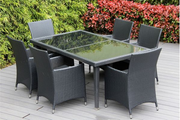 DEAL OF THE DAY - Ohana 7-Piece Outdoor Dining Set - Black/Mixed Brown - SAVE 20+%