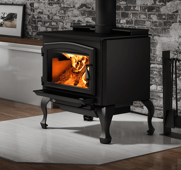 Osburn 2000 Wood Stove with black door and cast iron leg kit and blower