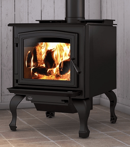 Osburn 3300 Wood Stove with Black Door and cast iron legs