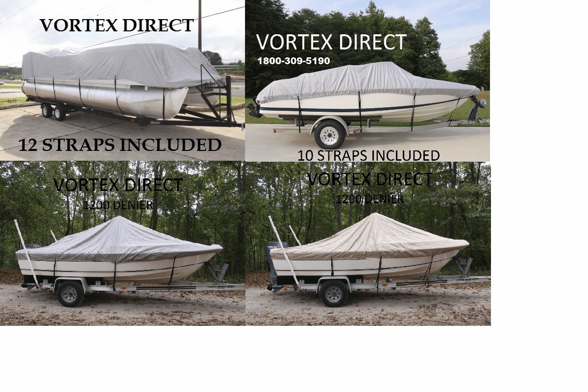1200D DENIER BOAT COVERS<BR> CENTER CONSOLE <BR> PONTOON <BR> FISHING SKI <BR> VHULL