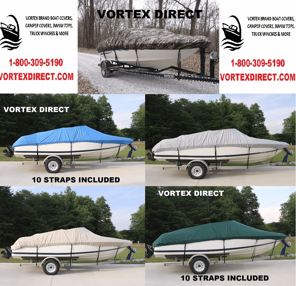 VORTEX HEAVY DUTY FISHING / SKI / RUNABOUT / VHULL BOAT COVER 13' - 15.5' LONG,