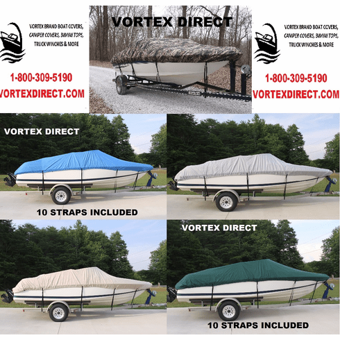 VORTEX HEAVY DUTY FISHING / SKI / RUNABOUT / VHULL BOAT COVER 13' - 15.5' LONG,  *****FREE SHIPPING******