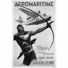 "Africa Aeromaritime 1950 Black and White Poster 24""x36"""