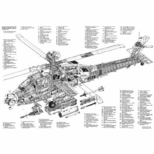 "Ah64 Longbow Helicopter Cutaway Black and White Poster 24""x36"""