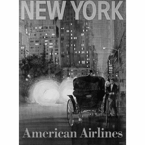 """American Airlines New York Black and White Poster 24""""x36"""""""