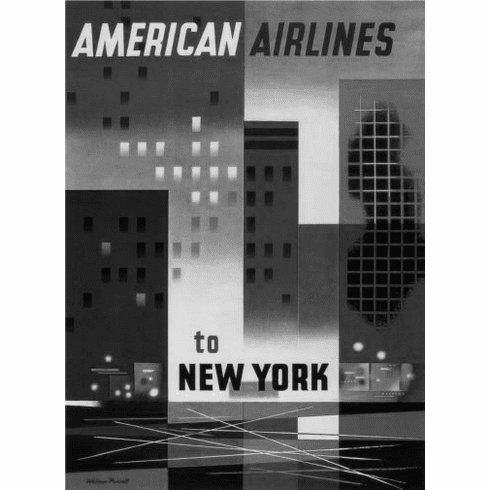 "American Airlines New York Black and White Poster 24""x36"""