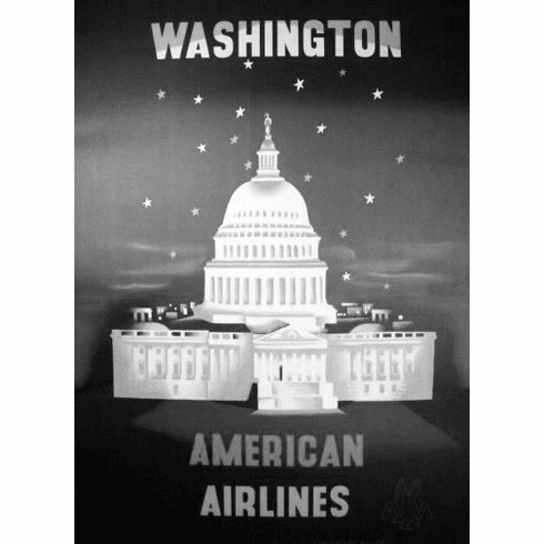 "American Airlines Washington Dc Black and White Poster 24""x36"""
