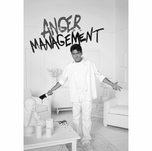 "Anger Management Charlie Sheen Black and White Poster 24""x36"""