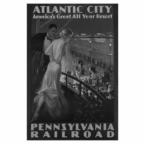 "Atlantic City Black and White Poster 24""x36"""