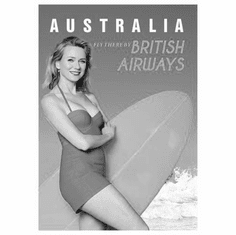 "Australia Naomi Watts British Airways Black and White Poster 24""x36"""