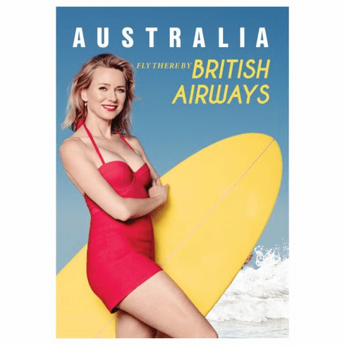 Australia Naomi Watts British Airways Poster 24in x36in