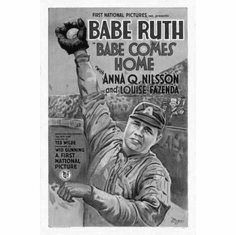 """Babe Ruth Black and White Poster 24""""x36"""""""