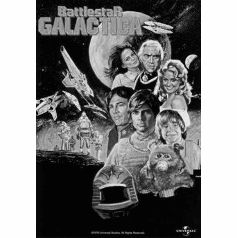 "Battlestar Galactica Black and White Poster 24""x36"""