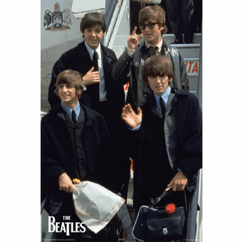 Beatles On Plane  Vintage 60's image Poster