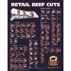 Beef Cuts Of Meat Butcher Chart Poster Angus Beef 24inx36in
