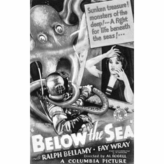 """Below The Sea Black and White Poster 24""""x36"""""""