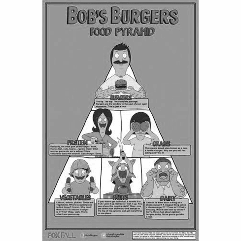 "Bobs Burgers Black and White Poster 24""x36"""