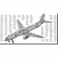 "Boeing 737 Cutaway Black and White Poster 24""x36"""