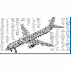 Boeing 737 Cutaway Military Aircraft Poster 24inx36in