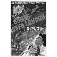 """Bombs Over London Black and White Poster 24""""x36"""""""
