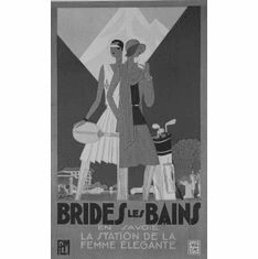 "Brides Les Bains Black and White Poster 24""x36"""