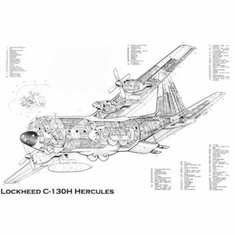 """C130 H Cutaway Black and White Poster 24""""x36"""""""