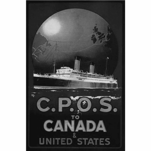 """Canada Cpos  1920 Black and White Poster 24""""x36"""""""