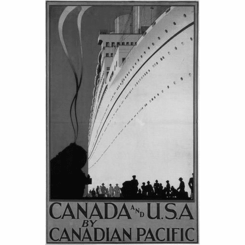 "Canadian Pacific Black and White Poster 24""x36"""