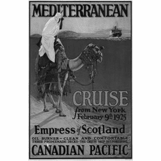 "Canadian Pacific Mediterranean Cruise Lines 1925 Black and White Poster 24""x36"""