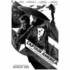 "Captain America Winter Soldier Black and White Poster 24""x36"""
