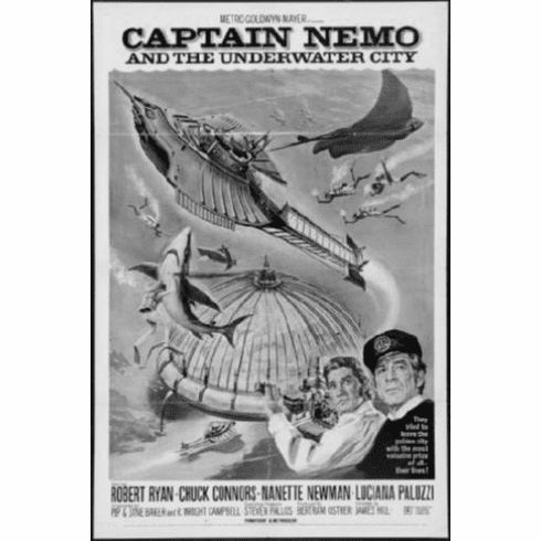 "Captain Nemo Black and White Poster 24""x36"""