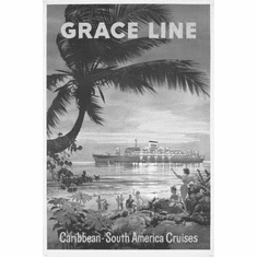 "Caribbean Graceline Cruises Black and White Poster 24""x36"""