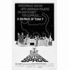 """Cat From Outer Space Black and White Poster 24""""x36"""""""