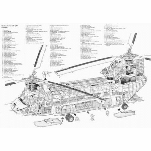 """Chinook Helicopter Cutaway Black and White Poster 24""""x36"""""""