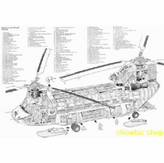 Chinook Helicopter Cutaway Line Art 8x10 photo Master Print