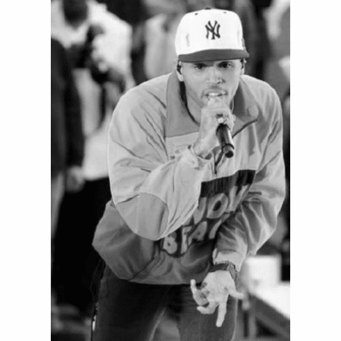 "Chris Brown Black and White Poster 24""x36"""
