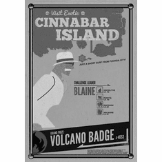 "Cinnabar Island Black and White Poster 24""x36"""