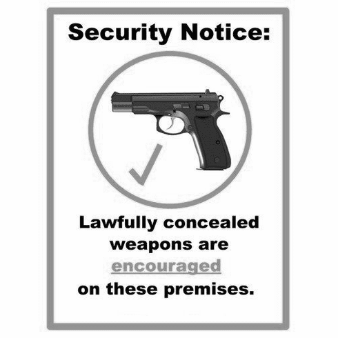 """Concealed Carry Weapons Allowed Sign Black and White Poster 24""""x36"""""""