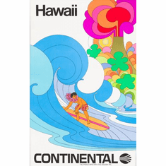 Continental Airlines Hawaii Poster 24in x36in