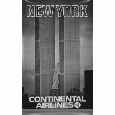 """Continental Airlines Ny Twin Towers Black and White Poster 24""""x36"""""""