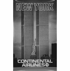 "Continental Airlines Ny Twin Towers Black and White Poster 24""x36"""