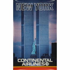 Continental Airlines Ny Twin Towers Mini poster 11inx17in