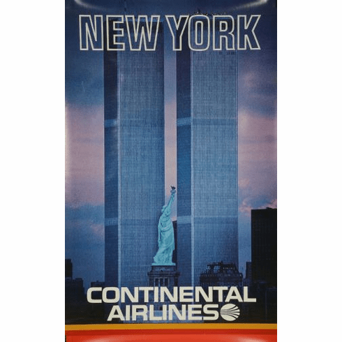 Continental Airlines Ny Twin Towers Poster 24in x36in