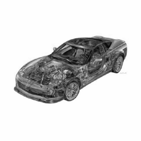 "Corvette Zr1 Cutaway Black and White Poster 24""x36"""