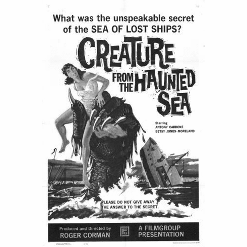 "Creature From The Haunted Sea Black and White Poster 24""x36"""