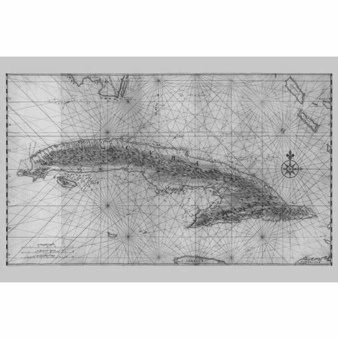 """Cuba Antique Map Black and White Poster 24""""x36"""""""