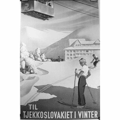 "Czechoslovakia Tourism Black and White Poster 24""x36"""